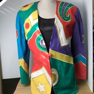 Coat of many colors 80s Large size 12 Rock N Roll